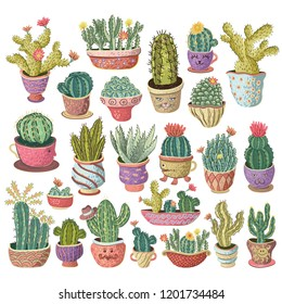 Hand drawn colorful cactuses set. Houseplant, cactus, tropical plants. Vector illustration