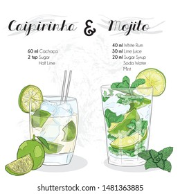 Hand Drawn Colorful Caipirinha and Mojito Summer Cocktail Drink Ingredients Recipe