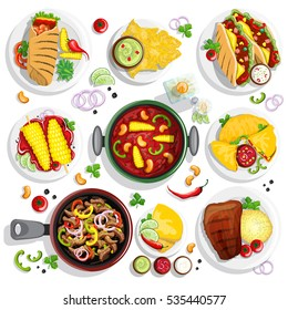 Hand drawn colorful collection with mexican food illustrations.. Burrito, taco, salsa, guacamole and other mexican traditional food in one top view collection