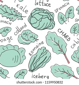 Hand drawn colorful doodle vegetables seamless pattern. Vegetables flat icons seamless pattern of leafy greens : kale, iceberg lettuce, romaine, spinach, cabbage, collard,