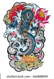 hand drawn colorful Dragon tattoo, coloring book japanese style