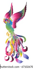 hand drawn colorful fashion of phoenix tattoo.Phoenix Fire bird illustration and character design,Legend of the Firebird is Russian fairy tales and it is creature from Slavic folklore.