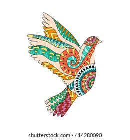 Hand drawn colorful flying dove in zentangle style. Pigeon ornamental silhouette. Hippie pattern. Ethnic tattoo design. Isolated vector illustration.