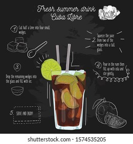 Hand drawn colorful fresh summer drink. Cuba Libre recipe on blackboard.