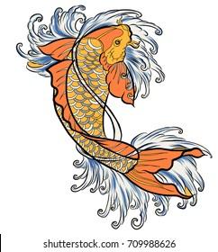 Hand drawn colorful Koi fish and water splash Japanese tattoo.Japanese art Koi carp fish with wave for Japanese tattoo.
