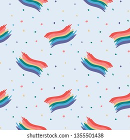 Hand Drawn colorful lgbt flag pattern with rainbow dots. Illustrations Drawing Vector Sketch for textile, print, postcard, text, invitation, poster, background, book, t-shirt, wallpaper