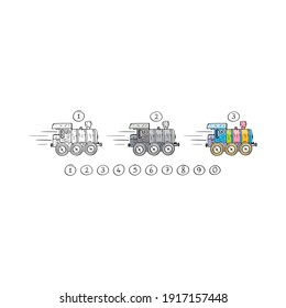 hand drawn colorful locomotive and 0-9 numbers. cute locomotive. black and white, gray and color locomotive