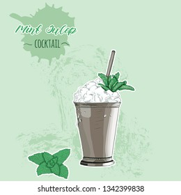 Hand Drawn Colorful Mint Julep Summer Cocktail Drink