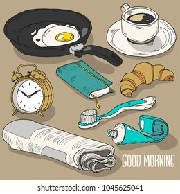 Hand drawn colorful morning element collection in vector
