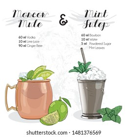 Hand Drawn Colorful Moscow Mule and Mint Julep Summer Cocktail Drink Ingredients Recipe