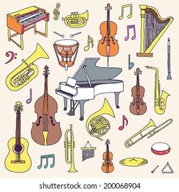 Hand drawn colorful musical instruments. Classical orchestra. Vector illustration.