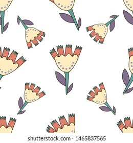 Hand drawn colorful naive flowers seamless pattern. Naive art style. Pattern for kids fabric, wrapping and wall paper.