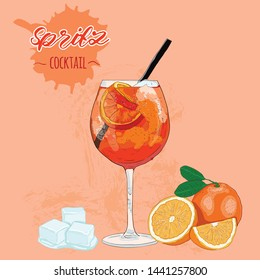 Hand Drawn Colorful Orange Spritz Summer Cocktail Drink