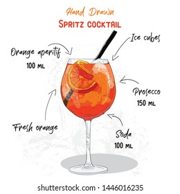 Hand Drawn Colorful Orange Spritz Summer Cocktail Drink Handwritten Ingredients Recipe