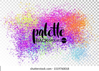 Hand drawn colorful pained spots and splatter. Various colors splaches background. Abstract artistic horizontal backdrop.