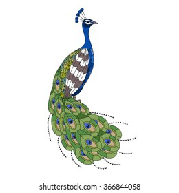 Hand drawn colorful peacock, illustration in zentangle style.