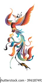 hand drawn colorful phoenix tattoo