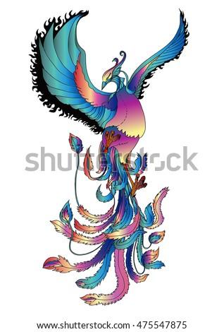 hand drawn colorful phoenix tattoo stock vektorgrafik. Black Bedroom Furniture Sets. Home Design Ideas