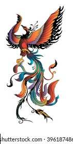 hand drawn colorful Phoenix tattoo,Fire bird isolate on white background,Japanese and Chinese style,Art of Phoenix Physiology