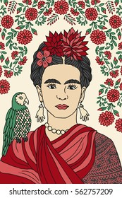 Hand drawn colorful portrait of Frida Kahlo, with floral background, red flowers in her hair and a parrot on her shoulder