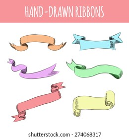 Hand drawn colorful ribbons. Vector illustration.
