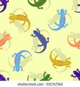 Hand drawn colorful salamander seamless pattern. Vector for kids textile