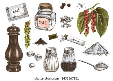 Hand drawn colorful salt and pepper icons isolated on white background. Vector illustration