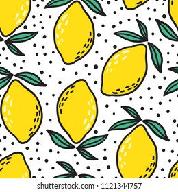 Hand drawn colorful seamless pattern of hand drawn lemons and green leaves on white background. Scandinavian design style. Perfect for textile manufacturing wallpaper posters etc. Vector illustration