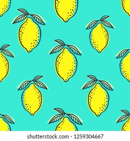 Hand drawn colorful seamless pattern of hand drawn lemons and green leaves on mint background. Scandinavian design style. Perfect for textile manufacturing wallpaper posters etc. Vector illustration
