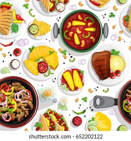 Hand drawn colorful seamless pattern with mexican food illustrations.. Burrito, taco, salsa, guacamole and other mexican traditional food