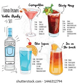 Hand Drawn Colorful Summer Vodka Cocktail Drink Set Cosmopolitan Bloody Mary Blue Lagoon Sex on the beach