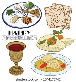 Hand drawn colorful traditional pesach passover food Red wine azimos the seder plate gefilte fish matzo balls