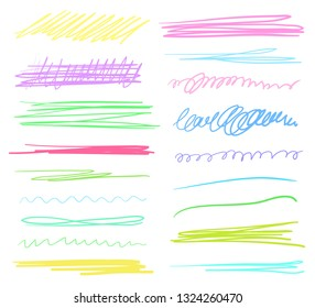 Hand drawn colorful underlines on white. Stroke chaotic patterns. Colored illustration. Sketchy elements for posters and flyers