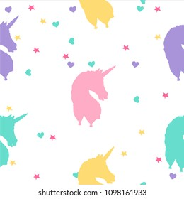 Hand drawn colorful unicorn seamless pattern with stars and hearts. Isolated vector on a white background. Cute magic fantasy wallpaper.