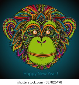 Hand drawn colorful vector illustration of ornate zentagle chimpanzee monkey. Ethnic graphic style. Simbol of 2016 Year. New Year greeting card