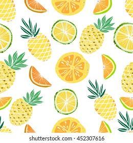 Hand drawn colorful vector seamless background. Fruits pattern with  pine apple, palm leaves. Summer theme.
