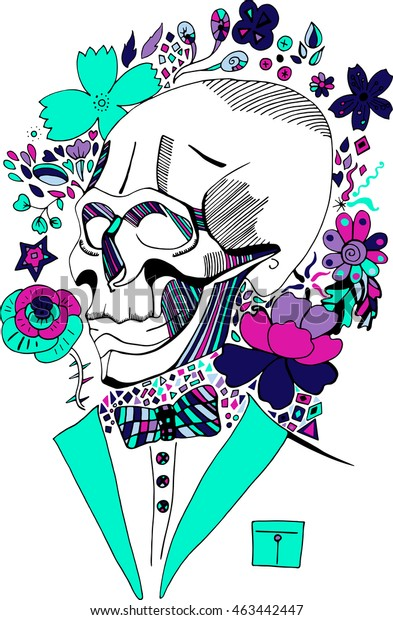 Hand drawn colorful vector sketch with ink skull with the bow tie. Coloring book page illustration. Print for T-shirt or tatoo.