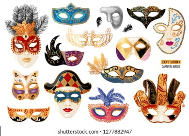 Hand drawn colorful venetian carnival masks collection. 14 unique elements. Vector illustration