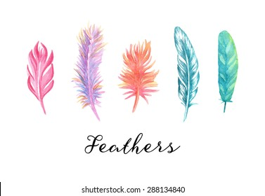 Hand drawn colorful watercolor feathers set for your design.
