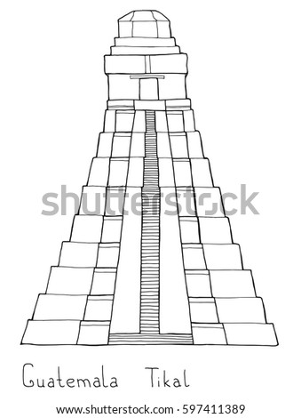 Hand Drawn Coloring Book Architecture Sketch Stock Vector (Royalty ...