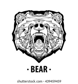 Hand drawn Coloring pages with  bear , zentangle illustration for adult anti stress Coloring books or tattoos with high details isolated on white background. Vector monochrome sketch