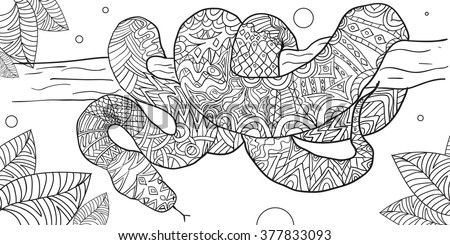 Hand Drawn Coloring Pages Boa Snake Stock Vektorgrafik Lizenzfrei