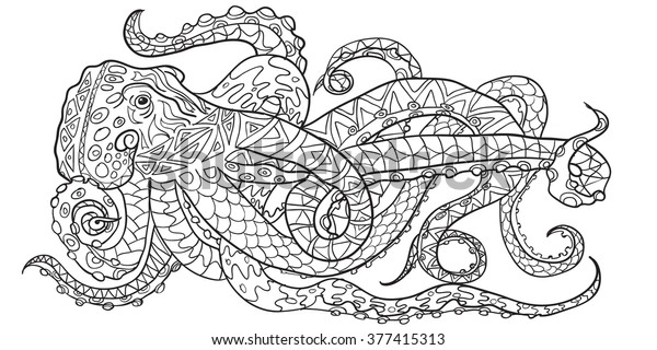 - Hand Drawn Coloring Pages Octopus Zen Stock Vector (Royalty Free) 377415313
