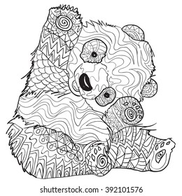 Panda Bear Coloring Pages Stock Illustrations, Images ...