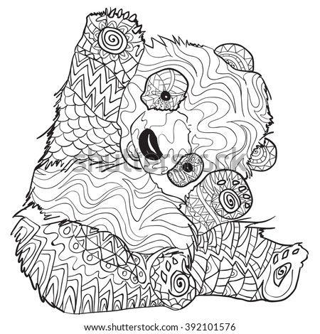 Hand Drawn Coloring Pages Panda Illustration Stock Vektorgrafik
