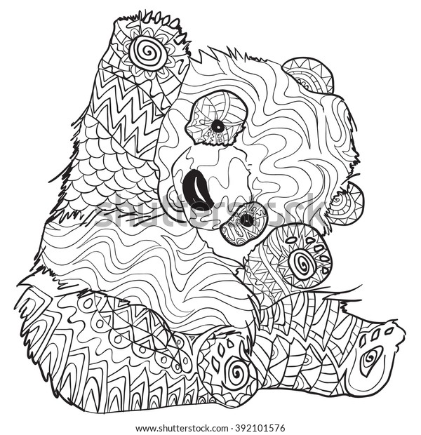 - Hand Drawn Coloring Pages Panda Illustration Stock Vector (Royalty Free)  392101576