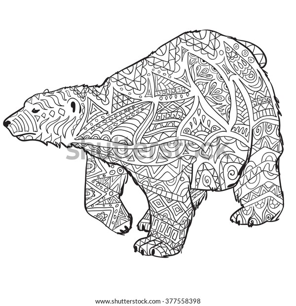 Hand Drawn Coloring Pages Polar Bear Stock Vector Royalty Free Rhshutterstock: Coloring Pages For Adults Bear At Baymontmadison.com