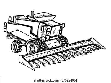 Hand drawn combine-harvester on white background. Vector illustration.