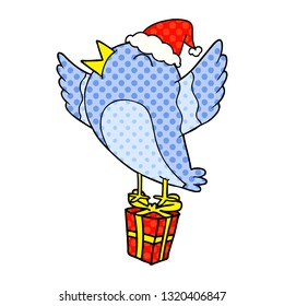 hand drawn comic book style illustration of a bird wearing santa hat