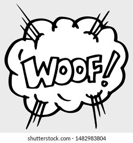 Hand drawn comic speech bubbles with emotion and text Woof. vector doodle comic explosion cartoon illustrations isolated for posters, banners, web, and concept design